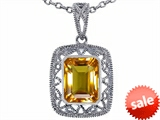 Tommaso Design™ Emerald Cut Genuine Citrine Pendant