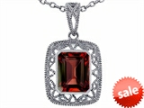 Tommaso Design™ Emerald Cut Genuine Garnet Pendant