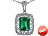 Tommaso Design™ Emerald Cut Simulated Emerald Pendant