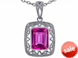Tommaso Design™ Emerald Cut Created Pink Sapphire Pendant style: 308194