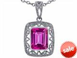 Tommaso Design™ Emerald Cut Created Pink Sapphire Pendant style: 308194