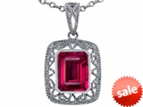 Tommaso Design™ Emerald Cut Created Ruby Pendant