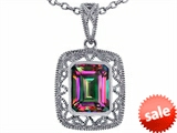 Tommaso Design™ Emerald Cut Rainbow Mystic Topaz Pendant style: 308197