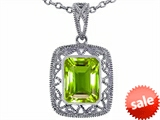 Tommaso Design™ Emerald Cut Genuine Peridot Pendant
