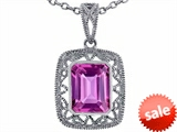 Tommaso Design™ Emerald Cut Simulated Pink Tourmaline Pendant