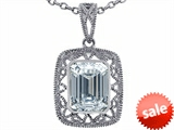 Tommaso Design™ Emerald Cut Genuine White Topaz Pendant