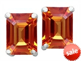 Original Star K™ 8x6mm Emerald Cut Simulated Orange Mexican Fire Opal Earrings