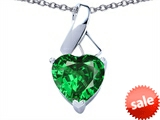 Original Star K™ 8mm Heart Shape Simulated Green Tsavorite Garnet Ribbon Pendant style: 308206