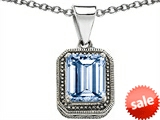 Original Star K™ Bali Style Emerald Cut 10x8mm Simulated Aquamarine Pendant style: 308212