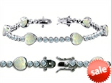 Original Star K™ High End Tennis Bracelet With 6pcs 7mm Heart Simulated Opal style: 308216