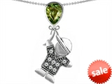 Original Star K™ Boy Holding a Balloon Mother Birthstone Pear Shape Simulated Green Tourmaline Pendant style: 308222