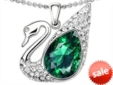 Original Star K™ Love Swan Pendant With Pear Shape Simulated Emerald style: 308230