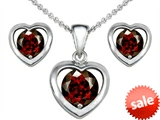 Original Star K™ Simulated Garnet Heart Earrings with matching Pendant style: 308232