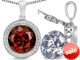 Switch-It Gems™ 2in1 Round 10mm Simulated Garnet Pendant Necklace with Interchangeable Simulated White Topaz Included style: 308240