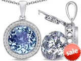 Switch-It Gems™ 2in1 Round 10mm Simulated Aquamarine Pendant with Interchangeable Simulated Diamond Included style: 308242
