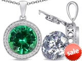 Switch-It Gems™ 2in1 Round 10mm Simulated Emerald Pendant with Interchangeable Simulated White Topaz Included style: 308243