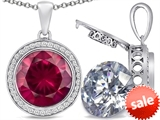 Switch-It Gems™ 2in1 Round 10mm Simulated Ruby Pendant Necklace with Interchangeable Simulated White Topaz Included style: 308244