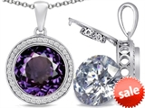 Switch-It Gems™ 2in1 Round 10mm Simulated Alexandrite Pendant with Interchangeable Simulated White Topaz Included style: 308245