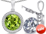 Switch-It Gems™ 2in1 Round 10mm Simulated Peridot Pendant with Interchangeable Simulated Diamond Included style: 308246