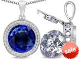 Switch-It Gems™ 2in1 Round 10mm Simulated Sapphire Pendant with Interchangeable Simulated White Topaz Included style: 308247