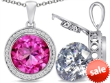 Switch-It Gems™ 2in1 Round 10mm Simulated Pink Tourmaline Pendant with Interchangeable Simulated Diamond Included