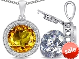 Switch-It Gems™ 2in1 Round 10mm Simulated Citrine Pendant with Interchangeable Simulated Diamond Included