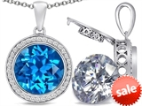 Switch-It Gems™ 2in1 Round 10mm Simulated Blue Topaz Pendant with Interchangeable Simulated Diamond Included