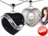 Original Star K™ True Love Black Enamel Locket With 7mm Round Simulated Pearl Surprise style: 308253
