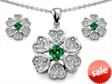 Original Star K™ Simulated Emerald Flower Pendant With Matching Earrings style: 308256