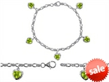 Original Star K™ High End Tennis Charm Bracelet With 5pcs 7mm Heart Shape Genuine Peridot