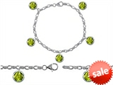 Original Star K™ High End Tennis Charm Bracelet With 5pcs 7mm Round Genuine Peridot