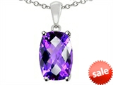 Tommaso Design™ 8x6mm Cushion Octagon Cut Genuine Amethyst Pendant style: 308260
