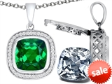 Switch-It Gems™ 2in1 Cushion 10mm Simulated Emerald Pendant with Interchangeable Simulated Diamond Included