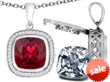 Switch-It Gems™ 2in1 Cushion 10mm Simulated Ruby Pendant with Interchangeable Simulated Diamond Included