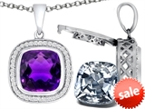 Switch-It Gems™ 2in1 Cushion 10mm Simulated Amethyst Pendant with Interchangeable Simulated Diamond Included
