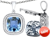 Switch-It Gems™ 2in1 Cushion 10mm Simulated Aquamarine Pendant Necklace with Interchangeable Simulated White Topaz Inclu style: 308267
