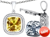 Switch-It Gems™ 2in1 Cushion 10mm Simulated Citrine Pendant with Interchangeable Simulated Diamond Included