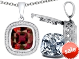 Switch-It Gems™ 2in1 Cushion 10mm Simulated Garnet Pendant with Interchangeable Simulated Diamond Included