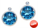 Original Star K™ Round Genuine Blue Topaz Earring Studs With High Post On Back
