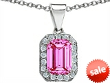 Original Star K™ 10x8mm Emerald Cut Created Pink Sapphire Pendant style: 308273