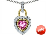 Original Star K™ Heart Shape Created Pink Sapphire Pendant style: 308279