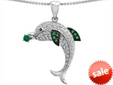 Original Star K™ Love Dolphin Pendant with Round Simulated Emerald style: 308281