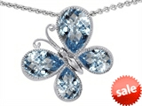 Original Star K™ Butterfly with Pear Shape Simulated Aquamarine Pendant style: 308283