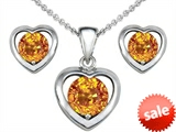 Original Star K™ Genuine Citrine Heart Earrings with matching Pendant style: 308284