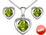 Original Star K™ Genuine Peridot Heart Earrings with Box Set matching Pendant