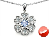 Original Star K™ Flower Pendant With Round 4mm Simulated Aquamarine style: 308287