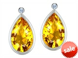 Original Star K™ Pear Shape Genuine Citrine Earring Studs With High Post On Back
