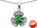 Original Star K™ Flower Pendant With Round 6mm Simulated Emerald style: 308290