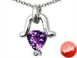 Tommaso Design™ Trillion Cut Genuine Amethyst Pendant style: 308291
