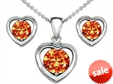 Original Star K™ Simulated Orange Mexican Fire Opal Heart Earrings with Box Set matching Pendant